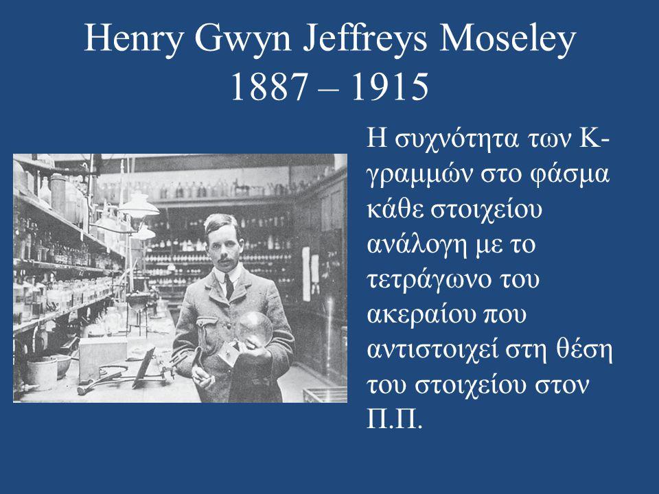 Henry Gwyn Jeffreys Moseley 1887 – 1915 Η συχνότητα των K- γραμμών στο φάσμα κάθε στοιχείου ανάλογη με το τετράγωνο του ακεραίου που αντιστοιχεί στη θ