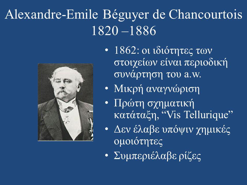 Alexandre-Emile Béguyer de Chancourtois 1820 –1886 • 1862: οι ιδιότητες των στοιχείων είναι περιοδική συνάρτηση του a.w. • Μικρή αναγνώριση • Πρώτη σχ