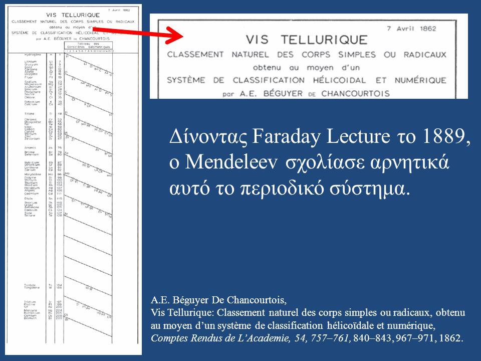 A.E. Béguyer De Chancourtois, Vis Tellurique: Classement naturel des corps simples ou radicaux, obtenu au moyen d'un système de classification hélicoï