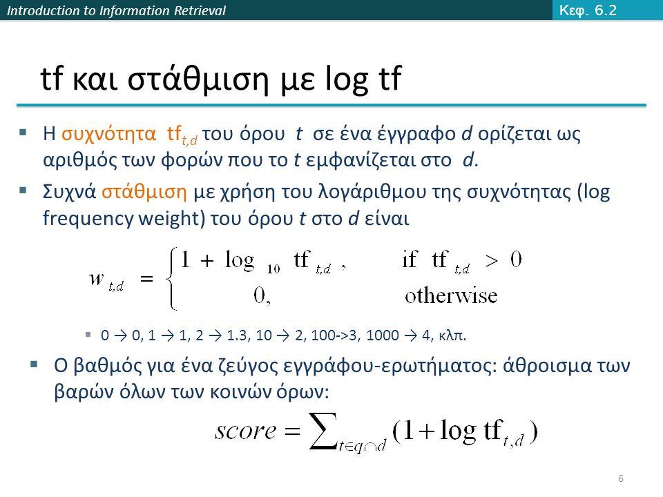 Introduction to Information Retrieval idf και στάθμιση  df t είναι η συχνότητα εγγράφων του t: ο αριθμός (πλήθος) των εγγράφων της συλλογής που περιέχουν το t (df t  N)  df t είναι η αντίστροφη μέτρηση της πληροφορίας που παρέχει ο όρος t  Ορίζουμε την αντίστροφη συχνότητα εγγράφων idf (inverse document frequency) του t ως  Χρησιμοποιούμε log (N/df t ) αντί για N/df t για να «ομαλοποιήσουμε» την επίδραση του idf.