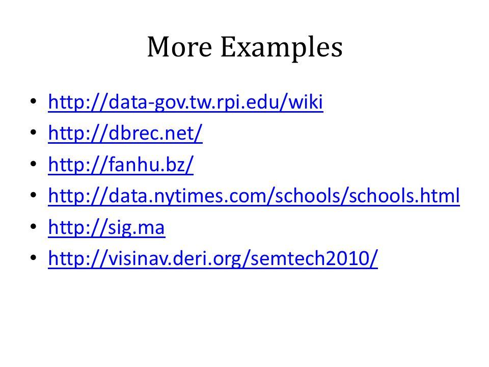 More Examples • http://data-gov.tw.rpi.edu/wiki http://data-gov.tw.rpi.edu/wiki • http://dbrec.net/ http://dbrec.net/ • http://fanhu.bz/ http://fanhu.bz/ • http://data.nytimes.com/schools/schools.html http://data.nytimes.com/schools/schools.html • http://sig.ma http://sig.ma • http://visinav.deri.org/semtech2010/ http://visinav.deri.org/semtech2010/