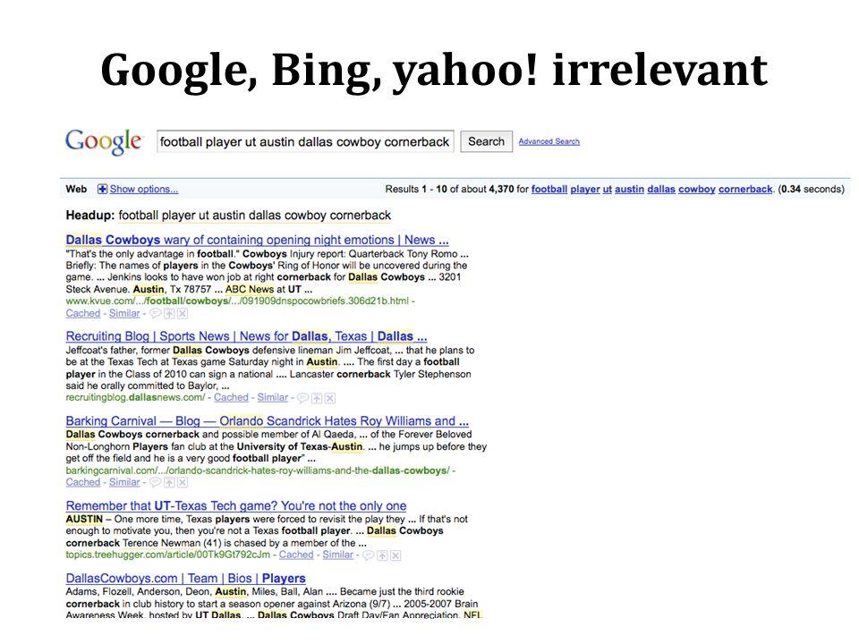 Google, Bing, yahoo! irrelevant 69