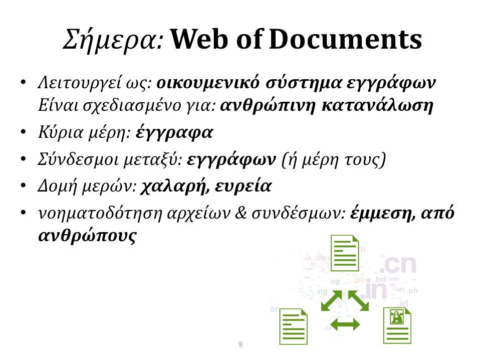 Σήμερα: Web of Documents • Λειτουργεί ως: οικουμενικό σύστημα εγγράφων Είναι σχεδιασμένο για: ανθρώπινη κατανάλωση • Κύρια μέρη: έγγραφα • Σύνδεσμοι μεταξύ: εγγράφων (ή μέρη τους) • Δομή μερών: χαλαρή, ευρεία • νοηματοδότηση αρχείων & συνδέσμων: έμμεση, από ανθρώπους 9