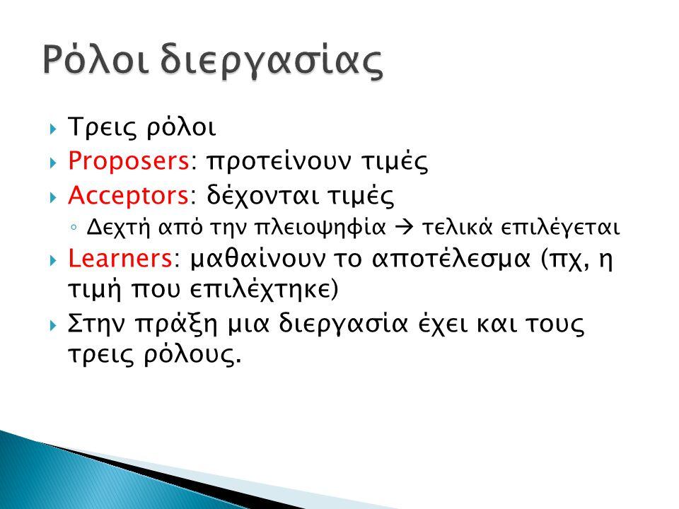  Τρεις ρόλοι  Proposers: προτείνουν τιμές  Acceptors: δέχονται τιμές ◦ Δεχτή από την πλειοψηφία  τελικά επιλέγεται  Learners: μαθαίνουν το αποτέλεσμα (πχ, η τιμή που επιλέχτηκε)  Στην πράξη μια διεργασία έχει και τους τρεις ρόλους.