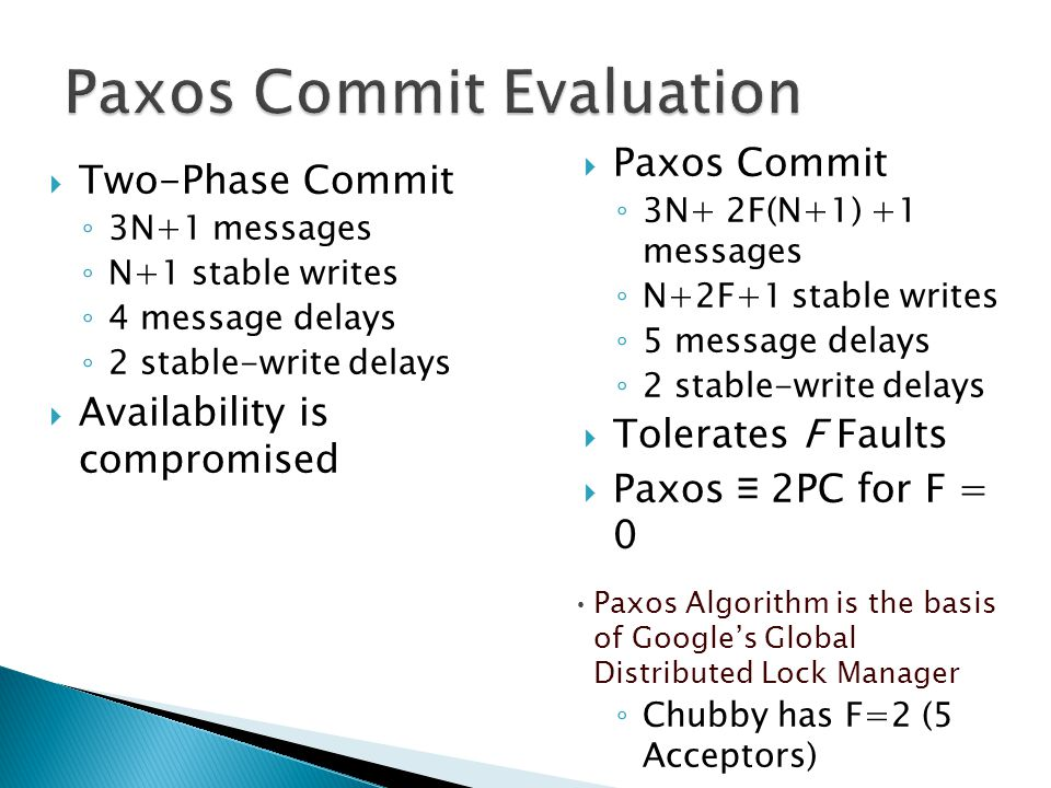  Two-Phase Commit ◦ 3N+1 messages ◦ N+1 stable writes ◦ 4 message delays ◦ 2 stable-write delays  Availability is compromised  Paxos Commit ◦ 3N+ 2