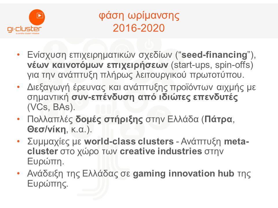φάση ωρίμανσης 2016-2020 •Ενίσχυση επιχειρηματικών σχεδίων ( seed-financing ), νέων καινοτόμων επιχειρήσεων (start-ups, spin-offs) για την ανάπτυξη πλήρως λειτουργικού πρωτοτύπου.
