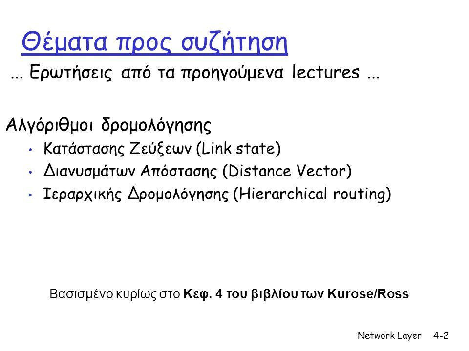 Network Layer4-2 Θέματα προς συζήτηση... Ερωτήσεις από τα προηγούμενα lectures... Αλγόριθμοι δρομολόγησης • Κατάστασης Ζεύξεων (Link state) • Διανυσμά