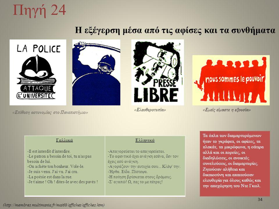Πηγή 24 Η εξέγερση μέσα από τις αφίσες και τα συνθήματα Τα όπλα των διαμαρτυρόμενων ήταν το γκράφιτι, οι αφίσες, τα πλακάτ, τα μικρόφωνα, η σάτιρα αλλ