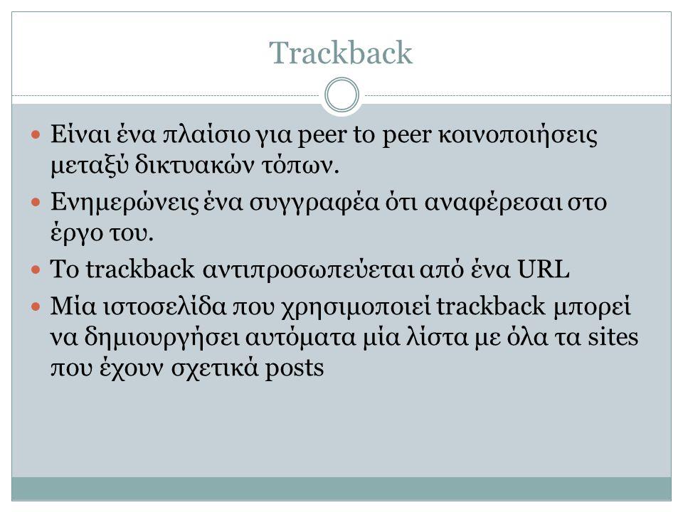 Trackback  Είναι ένα πλαίσιο για peer to peer κοινοποιήσεις μεταξύ δικτυακών τόπων.  Ενημερώνεις ένα συγγραφέα ότι αναφέρεσαι στο έργο του.  Το tra