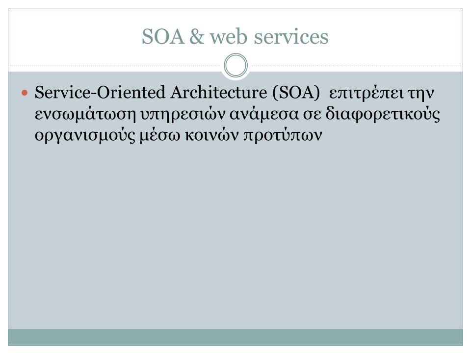SOA & web services  Service-Oriented Architecture (SOA) επιτρέπει την ενσωμάτωση υπηρεσιών ανάμεσα σε διαφορετικούς οργανισμούς μέσω κοινών προτύπων
