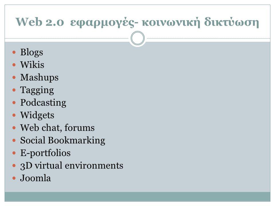Web 2.0 εφαρμογές- κοινωνική δικτύωση  Blogs  Wikis  Mashups  Tagging  Podcasting  Widgets  Web chat, forums  Social Bookmarking  E-portfolio