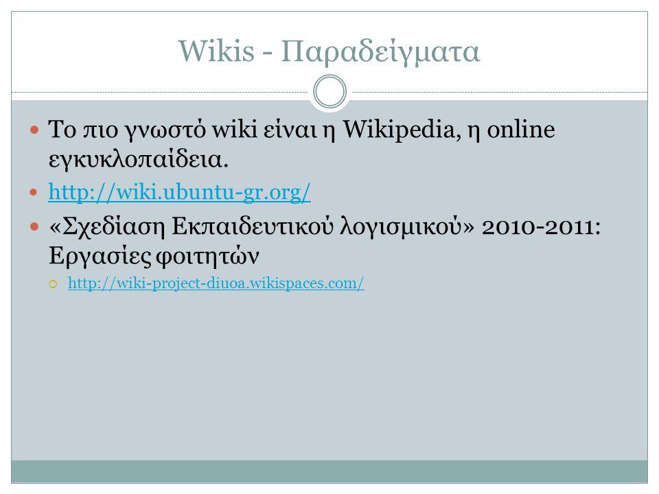 Wikis - Παραδείγματα  Το πιο γνωστό wiki είναι η Wikipedia, η online εγκυκλοπαίδεια.  http://wiki.ubuntu-gr.org/ http://wiki.ubuntu-gr.org/  «Σχεδί