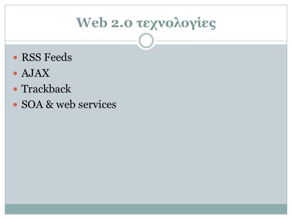 RSS Feed  RSS (Really Simple Syndication) εργαλείο διανομής ειδήσεων  Ο χρήστης του Διαδικτύου ενημερώνεται για γεγονότα και νέα από άλλους χρήστες ή και κανάλια πληροφορίας.