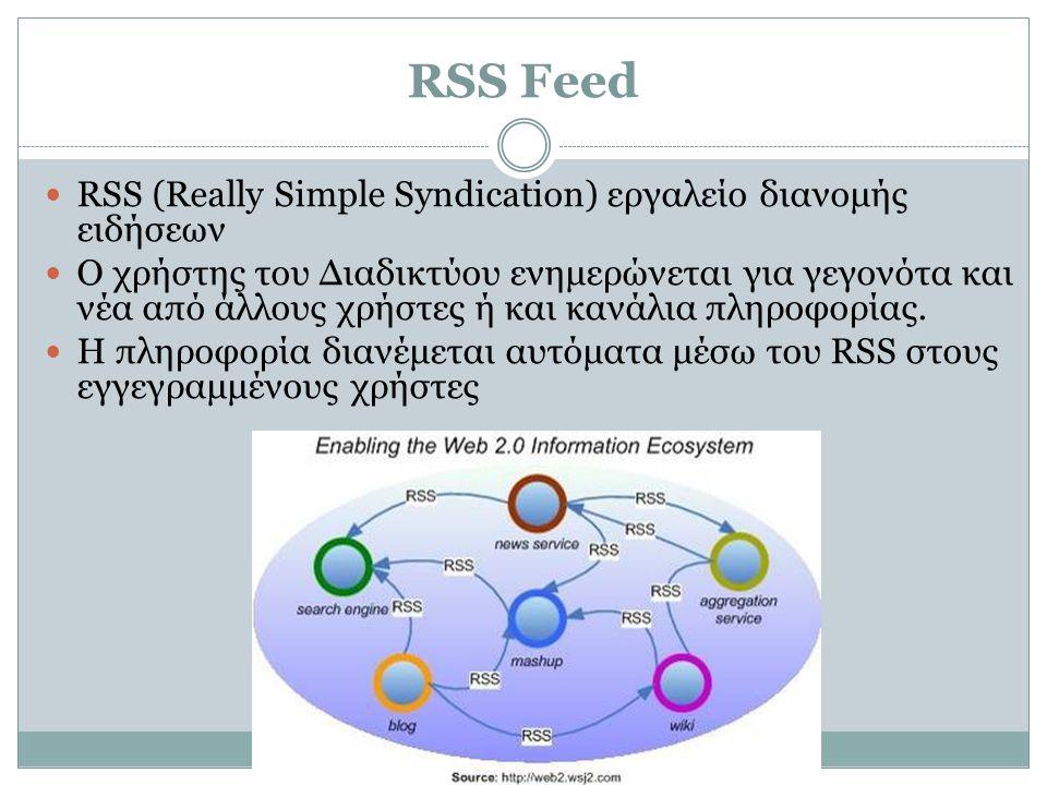 RSS Feed  RSS (Really Simple Syndication) εργαλείο διανομής ειδήσεων  Ο χρήστης του Διαδικτύου ενημερώνεται για γεγονότα και νέα από άλλους χρήστες