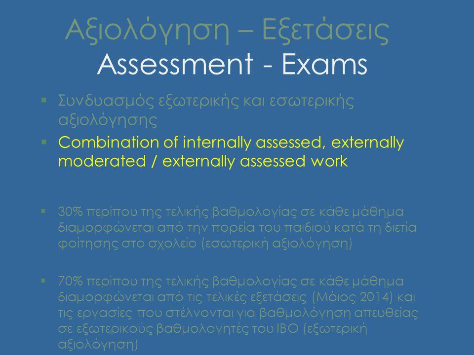 Αξιολόγηση – Εξετάσεις Assessment - Exams §Συνδυασμός εξωτερικής και εσωτερικής αξιολόγησης §Combination of internally assessed, externally moderated / externally assessed work §30% περίπου της τελικής βαθμολογίας σε κάθε μάθημα διαμορφώνεται από την πορεία του παιδιού κατά τη διετία φοίτησης στο σχολείο (εσωτερική αξιολόγηση) §70% περίπου της τελικής βαθμολογίας σε κάθε μάθημα διαμορφώνεται από τις τελικές εξετάσεις (Μάιος 2014) και τις εργασίες που στέλνονται για βαθμολόγηση απευθείας σε εξωτερικούς βαθμολογητές του ΙΒΟ (εξωτερική αξιολόγηση)