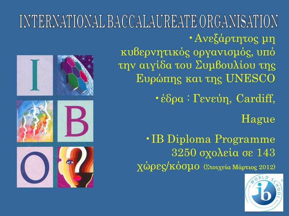 •Ανεξάρτητος μη κυβερνητικός οργανισμός, υπό την αιγίδα του Συμβουλίου της Ευρώπης και της UNESCO •έδρα : Γενεύη, Cardiff, Ηague •IB Diploma Programme 3250 σχολεία σε 143 χώρες/κόσμο (Στοιχεία Μάρτιος 2012)