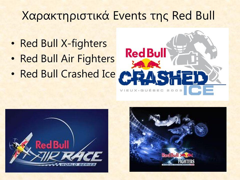 Χαρακτηριστικά Events της Red Bull • Red Bull X-fighters • Red Bull Air Fighters • Red Bull Crashed Ice
