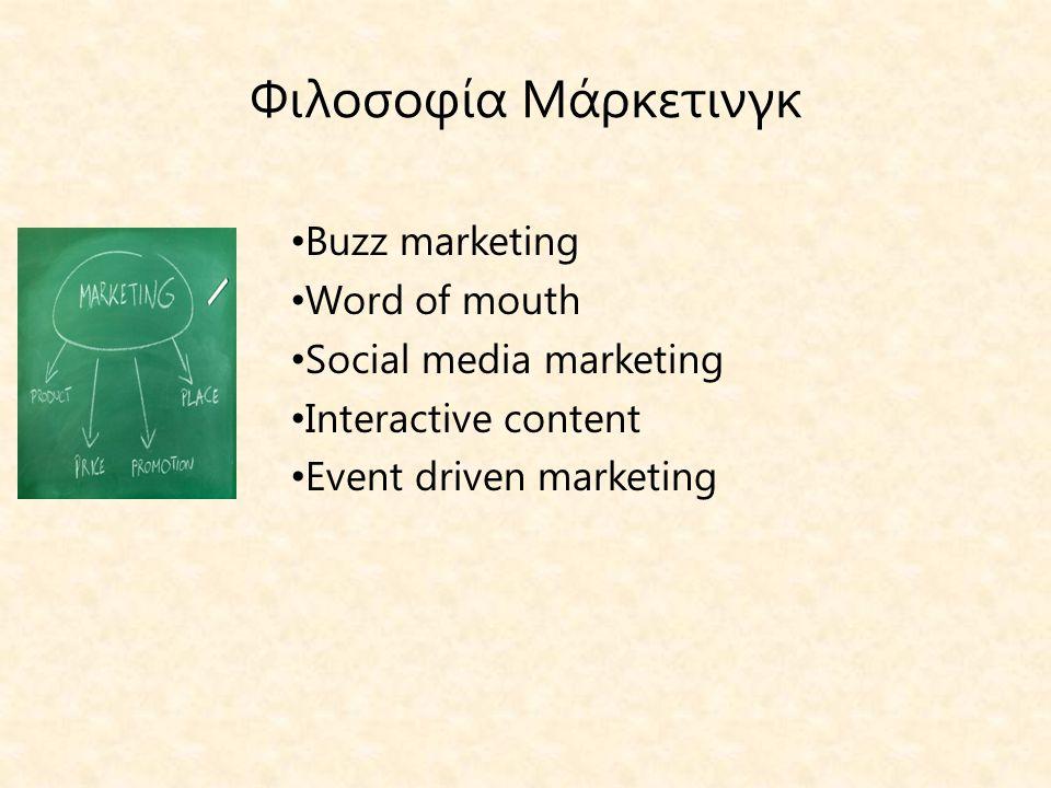 Φιλοσοφία Μάρκετινγκ • Buzz marketing • Word of mouth • Social media marketing • Interactive content • Event driven marketing