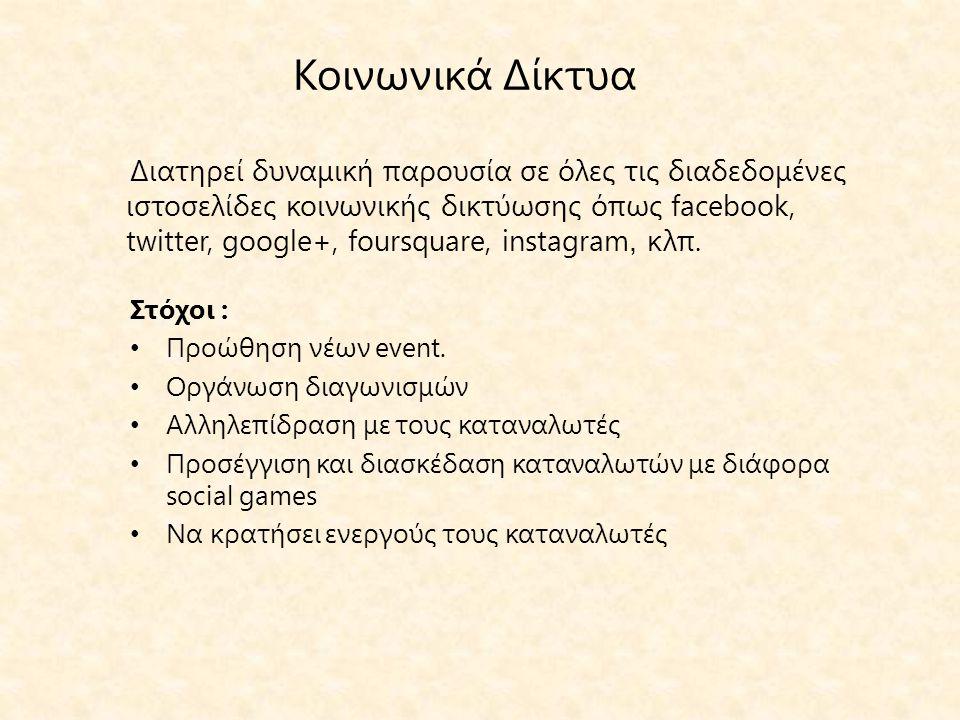 Κοινωνικά Δίκτυα Στόχοι : • Προώθηση νέων event.