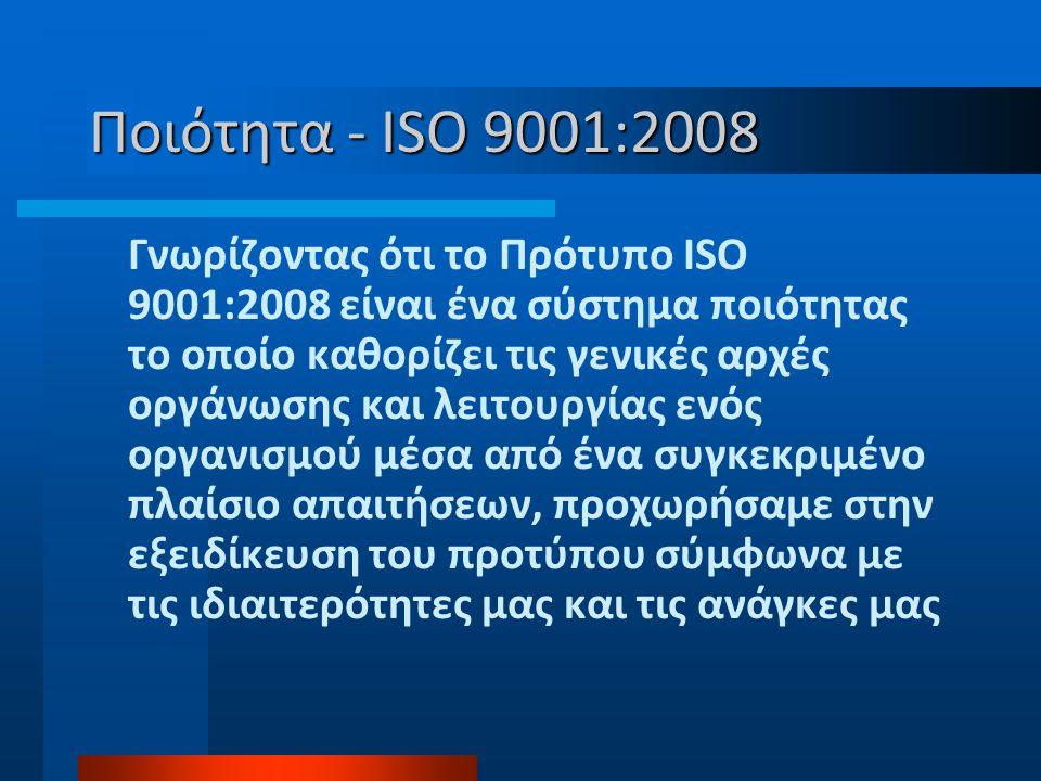 Ποιότητα - ISO 9001:2008 Γνωρίζοντας ότι το Πρότυπο ISO 9001:2008 είναι ένα σύστημα ποιότητας το οποίο καθορίζει τις γενικές αρχές οργάνωσης και λειτουργίας ενός οργανισμού μέσα από ένα συγκεκριμένο πλαίσιο απαιτήσεων, προχωρήσαμε στην εξειδίκευση του προτύπου σύμφωνα με τις ιδιαιτερότητες μας και τις ανάγκες μας