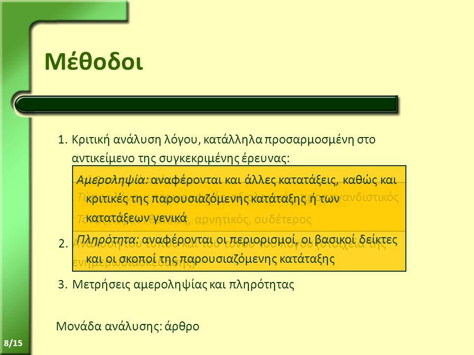 8/15 Μέθοδοι 1.Κριτική ανάλυση λόγου, κατάλληλα προσαρμοσμένη στο αντικείμενο της συγκεκριμένης έρευνας: α)Ρητορικά σχήματα β)Θεματολογία (= στρατηγική επιχειρημάτων και στρατηγική παρουσίασης) Μονάδα ανάλυσης: άρθρο 2.Ανάλυση του τύπου και του τόνου του λόγου (στοιχεία της ενημερωδιασκέδασης) Τύπος λόγου: περιγραφικός, αξιολογικός, προπαγανδιστικός Τόνος λόγου: θετικός, αρνητικός, ουδέτερος 3.Μετρήσεις αμεροληψίας και πληρότητας Αμεροληψία: αναφέρονται και άλλες κατατάξεις, καθώς και κριτικές της παρουσιαζόμενης κατάταξης ή των κατατάξεων γενικά Πληρότητα: αναφέρονται οι περιορισμοί, οι βασικοί δείκτες και οι σκοποί της παρουσιαζόμενης κατάταξης