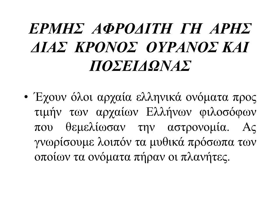 ΕΡΜΗΣ ΑΦΡΟΔΙΤΗ ΓΗ ΑΡΗΣ ΔΙΑΣ ΚΡΟΝΟΣ ΟΥΡΑΝΟΣ ΚΑΙ ΠΟΣΕΙΔΩΝΑΣ •Έχουν όλοι αρχαία ελληνικά ονόματα προς τιμήν των αρχαίων Ελλήνων φιλοσόφων που θεμελίωσαν