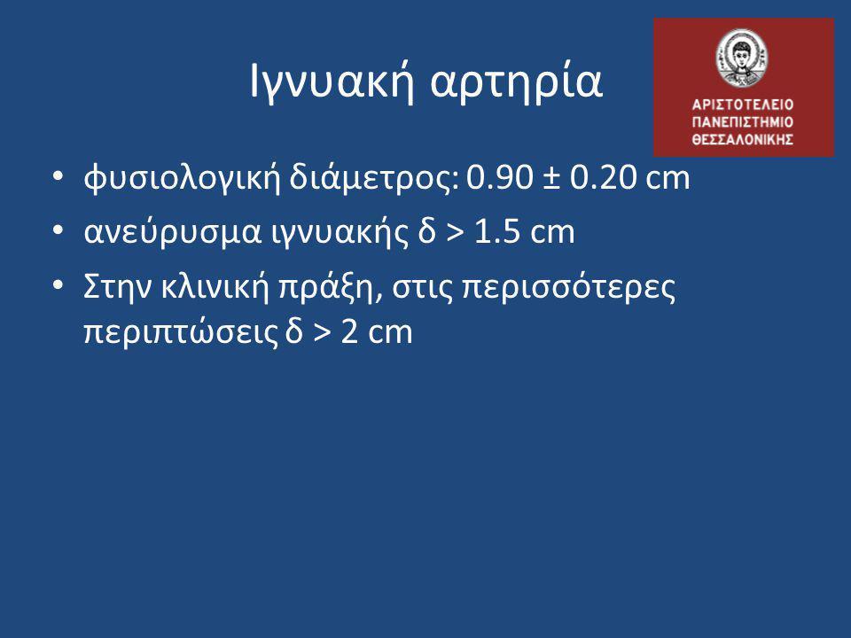 Ιγνυακή αρτηρία • φυσιολογική διάμετρος: 0.90 ± 0.20 cm • ανεύρυσμα ιγνυακής δ > 1.5 cm • Στην κλινική πράξη, στις περισσότερες περιπτώσεις δ > 2 cm