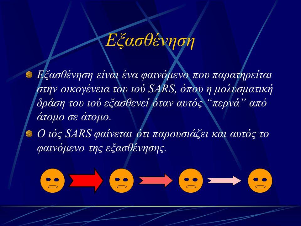 """Εξασθένηση Εξασθένηση είναι ένα φαινόμενο που παρατηρείται στην οικογένεια του ιού SARS, όπου η μολυσματική δράση του ιού εξασθενεί όταν αυτός """"περνά"""""""