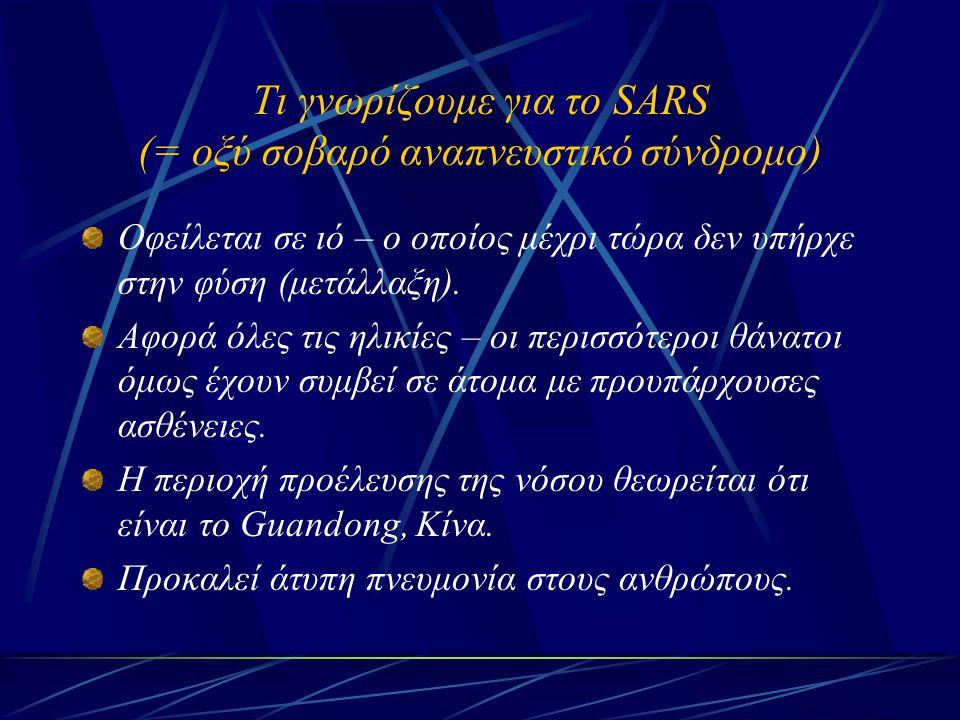 Τι γνωρίζουμε για το SARS (= οξύ σοβαρό αναπνευστικό σύνδρομο) Οφείλεται σε ιό – ο οποίος μέχρι τώρα δεν υπήρχε στην φύση (μετάλλαξη). Αφορά όλες τις