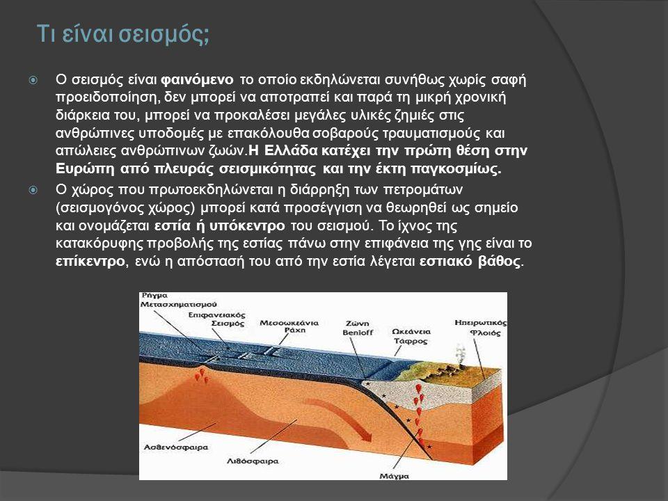 Τι είναι σεισμός;  Ο σεισμός είναι φαινόμενο το οποίο εκδηλώνεται συνήθως χωρίς σαφή προειδοποίηση, δεν μπορεί να αποτραπεί και παρά τη μικρή χρονική