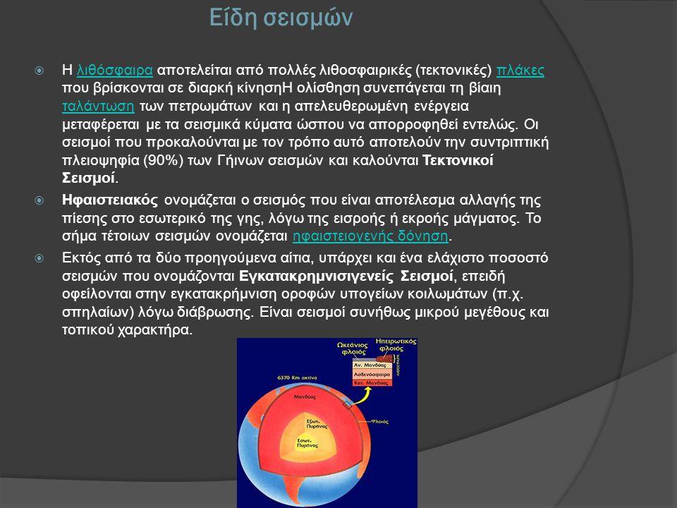 Ένταση σεισμού  Η αναγκαιότητα σύγκρισης ενός σεισμού με κάποιο άλλο σεισμικό συμβάν σε άλλο τόπο και χρόνο, όσον αφορά στα χαρακτηριστικά του σαν φυσικό φαινόμενο και τα αποτελέσματά του στη λειτουργία μιας οργανωμένης κοινωνίας, επέβαλλε την υιοθέτηση δύο διαφορετικών φυσικών ποσοτήτων, του μεγέθους και της έντασης αντίστοιχα.