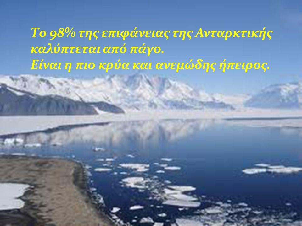 Το 98% της επιφάνειας της Ανταρκτικής καλύπτεται από πάγο. Είναι η πιο κρύα και ανεμώδης ήπειρος.