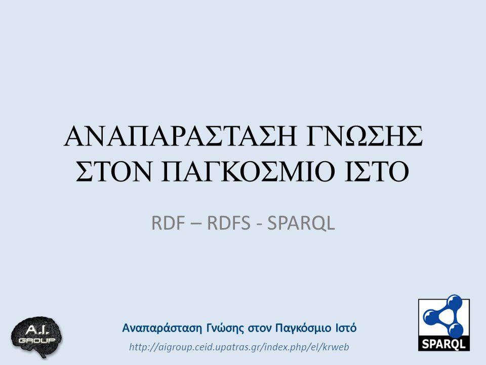 ΑΝΑΠΑΡΑΣΤΑΣΗ ΓΝΩΣΗΣ ΣΤΟΝ ΠΑΓΚΟΣΜΙΟ ΙΣΤΟ RDF – RDFS - SPARQL http://aigroup.ceid.upatras.gr/index.php/el/krweb