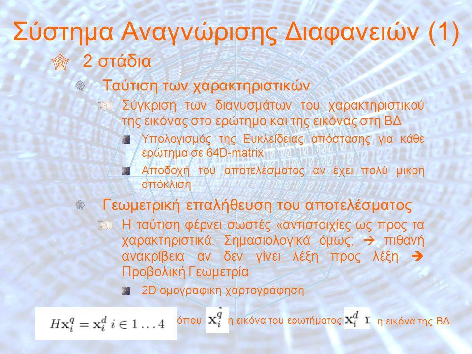 14 Σύστημα Αναγνώρισης Διαφανειών (1)  2 στάδια Ταύτιση των χαρακτηριστικών Σύγκριση των διανυσμάτων του χαρακτηριστικού της εικόνας στο ερώτημα και της εικόνας στη ΒΔ Υπολογισμός της Ευκλείδειας απόστασης για κάθε ερώτημα σε 64D-matrix Αποδοχή του αποτελέσματος αν έχει πολύ μικρή απόκλιση Γεωμετρική επαλήθευση του αποτελέσματος Η ταύτιση φέρνει σωστές «αντιστοιχίες ως προς τα χαρακτηριστικά.