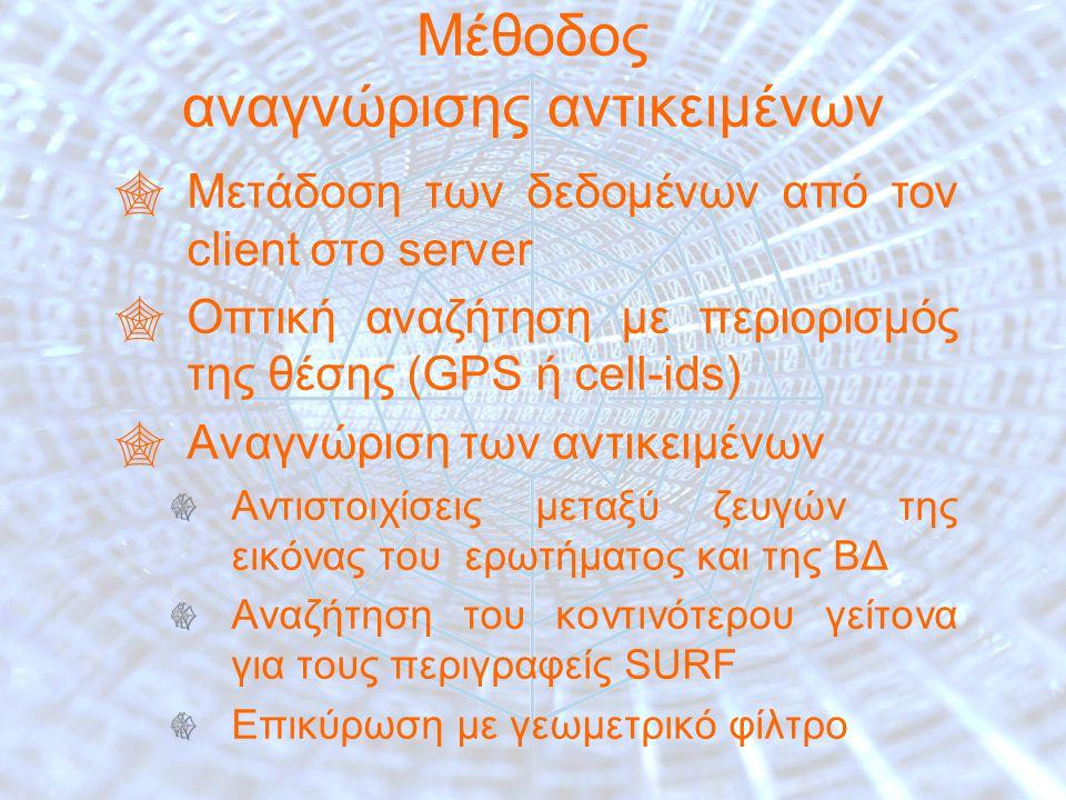 24 Μέθοδος αναγνώρισης αντικειμένων  Μετάδοση των δεδομένων από τον client στο server  Οπτική αναζήτηση με περιορισμός της θέσης (GPS ή cell-ids)  Αναγνώριση των αντικειμένων Αντιστοιχίσεις μεταξύ ζευγών της εικόνας του ερωτήματος και της ΒΔ Αναζήτηση του κοντινότερου γείτονα για τους περιγραφείς SURF Επικύρωση με γεωμετρικό φίλτρο