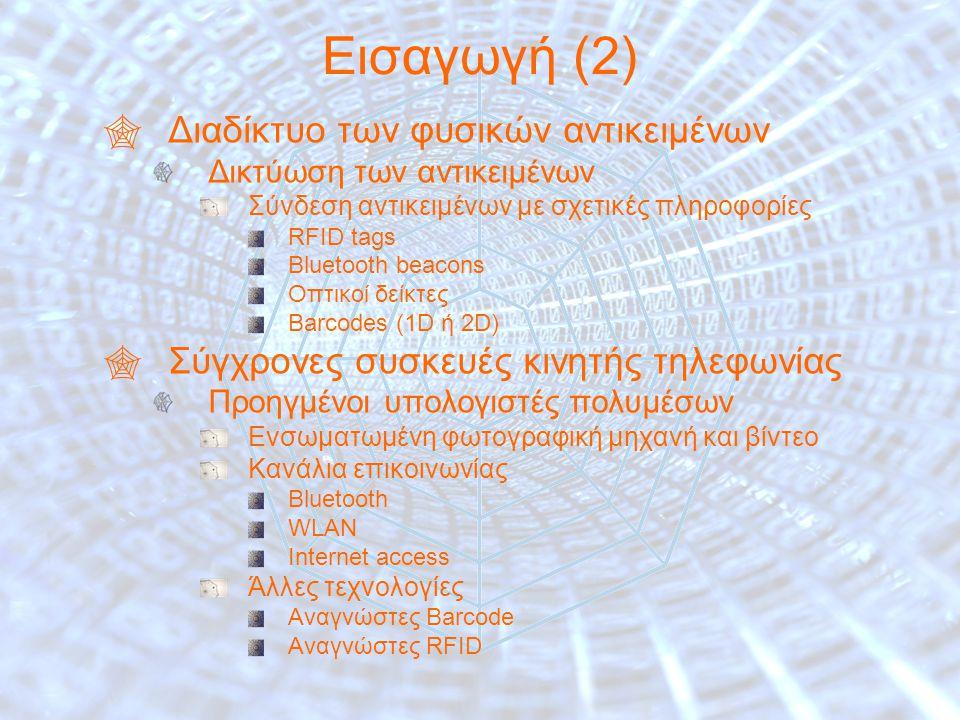 5 Εισαγωγή (2)  Διαδίκτυο των φυσικών αντικειμένων Δικτύωση των αντικειμένων Σύνδεση αντικειμένων με σχετικές πληροφορίες RFID tags Bluetooth beacons Οπτικοί δείκτες Barcodes (1D ή 2D)  Σύγχρονες συσκευές κινητής τηλεφωνίας Προηγμένοι υπολογιστές πολυμέσων Ενσωματωμένη φωτογραφική μηχανή και βίντεο Κανάλια επικοινωνίας Bluetooth WLAN Internet access Άλλες τεχνολογίες Αναγνώστες Barcode Αναγνώστες RFID