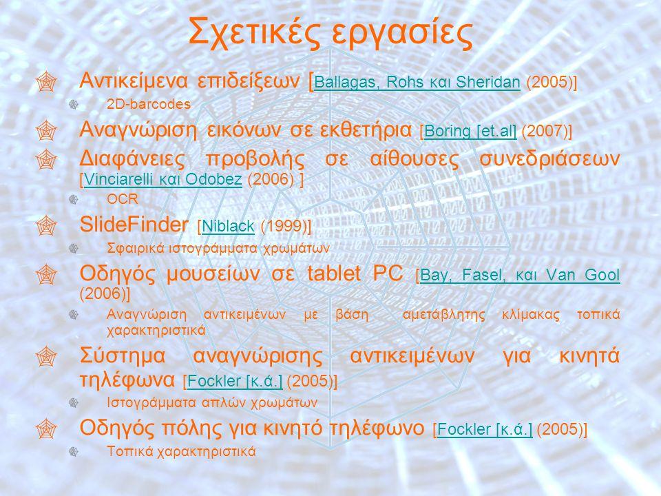 7 Σχετικές εργασίες  Αντικείμενα επιδείξεων [ Ballagas, Rohs και Sheridan (2005)] Ballagas, Rohs και Sheridan 2D-barcodes  Αναγνώριση εικόνων σε εκθετήρια [Boring [et.al] (2007)]Boring [et.al]  Διαφάνειες προβολής σε αίθουσες συνεδριάσεων [Vinciarelli και Odobez (2006) ]Vinciarelli και Odobez OCR  SlideFinder [Niblack (1999)]Niblack Σφαιρικά ιστογράμματα χρωμάτων  Οδηγός μουσείων σε tablet PC [Bay, Fasel, και Van Gool (2006)]Bay, Fasel, και Van Gool Αναγνώριση αντικειμένων με βάση αμετάβλητης κλίμακας τοπικά χαρακτηριστικά  Σύστημα αναγνώρισης αντικειμένων για κινητά τηλέφωνα [Fockler [κ.ά.] (2005)]Fockler [κ.ά.] Ιστογράμματα απλών χρωμάτων  Οδηγός πόλης για κινητό τηλέφωνο [Fockler [κ.ά.] (2005)]Fockler [κ.ά.] Τοπικά χαρακτηριστικά