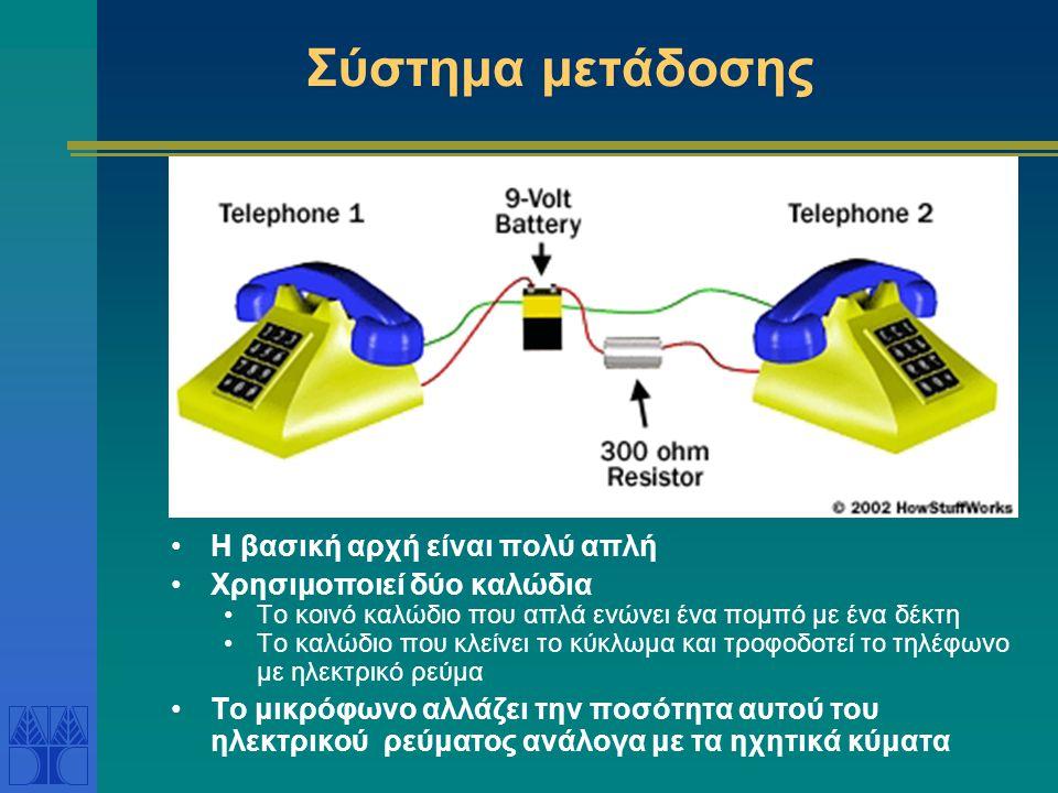 Σύστημα μετάδοσης •Η βασική αρχή είναι πολύ απλή •Χρησιμοποιεί δύο καλώδια •Το κοινό καλώδιο που απλά ενώνει ένα πομπό με ένα δέκτη •Το καλώδιο που κλείνει το κύκλωμα και τροφοδοτεί το τηλέφωνο με ηλεκτρικό ρεύμα •Το μικρόφωνο αλλάζει την ποσότητα αυτού του ηλεκτρικού ρεύματος ανάλογα με τα ηχητικά κύματα