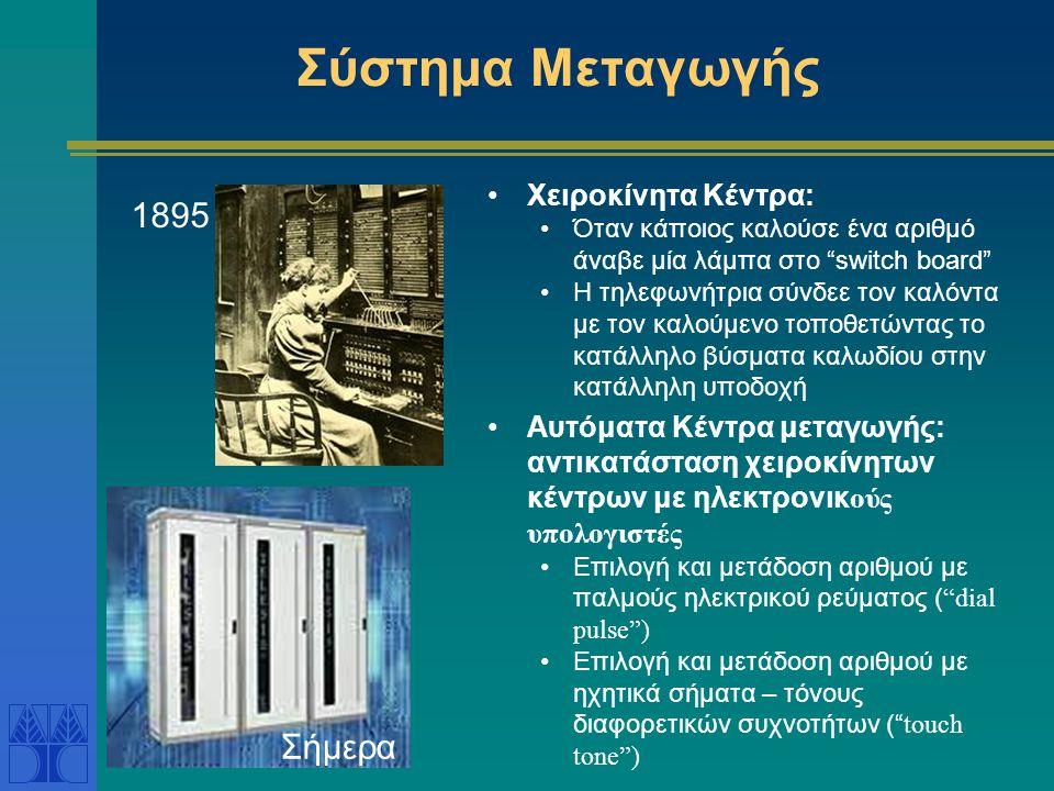 Σύστημα Μεταγωγής •Χειροκίνητα Κέντρα: •Όταν κάποιος καλούσε ένα αριθμό άναβε μία λάμπα στο switch board •Η τηλεφωνήτρια σύνδεε τον καλόντα με τον καλούμενο τοποθετώντας το κατάλληλο βύσματα καλωδίου στην κατάλληλη υποδοχή •Αυτόματα Κέντρα μεταγωγής: αντικατάσταση χειροκίνητων κέντρων με ηλεκτρονικ ούς υπολογιστές •Επιλογή και μετάδοση αριθμού με παλμούς ηλεκτρικού ρεύματος ( dial pulse ) •Επιλογή και μετάδοση αριθμού με ηχητικά σήματα – τόνους διαφορετικών συχνοτήτων ( touch tone ) 1895 Σήμερα