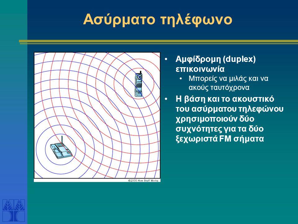 Ασύρματο τηλέφωνο •Αμφίδρομη (duplex) επικοινωνία •Μπορείς να μιλάς και να ακούς ταυτόχρονα •Η βάση και το ακουστικό του ασύρματου τηλεφώνου χρησιμοποιούν δύο συχνότητες για τα δύο ξεχωριστά FM σήματα