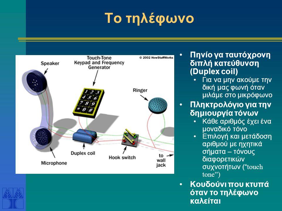 Το τηλέφωνο •Πηνίο γα ταυτόχρονη διπλή κατεύθυνση (Duplex coil) •Για να μην ακούμε την δική μας φωνή όταν μιλάμε στο μικρόφωνο •Πληκτρολόγιο για την δημιουργία τόνων •Κάθε αριθμός έχει ένα μοναδικό τόνο •Επιλογή και μετάδοση αριθμού με ηχητικά σήματα – τόνους διαφορετικών συχνοτήτων ( touch tone ) •Κουδούνι που κτυπά όταν το τηλέφωνο καλείται