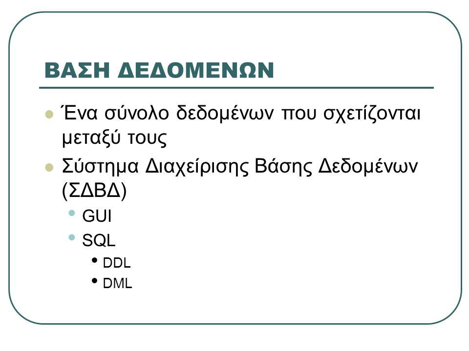 ΒΑΣΗ ΔΕΔΟΜΕΝΩΝ  Ένα σύνολο δεδομένων που σχετίζονται μεταξύ τους  Σύστημα Διαχείρισης Βάσης Δεδομένων (ΣΔΒΔ) • GUI • SQL • DDL • DML