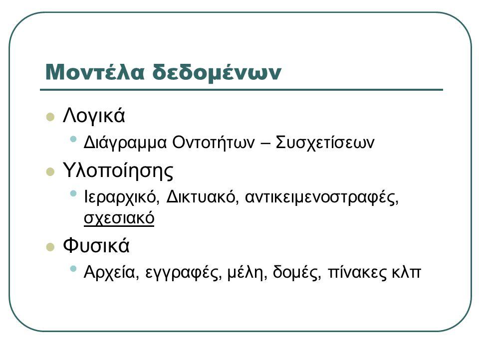 Μοντέλα δεδομένων  Λογικά • Διάγραμμα Οντοτήτων – Συσχετίσεων  Υλοποίησης • Ιεραρχικό, Δικτυακό, αντικειμενοστραφές, σχεσιακό  Φυσικά • Αρχεία, εγγ