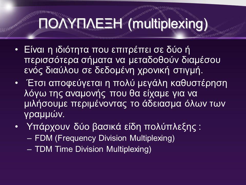 ΠΟΛΥΠΛΕΞΗ (multiplexing) •Είναι η ιδιότητα που επιτρέπει σε δύο ή περισσότερα σήματα να μεταδοθούν διαμέσου ενός διαύλου σε δεδομένη χρονική στιγμή. •