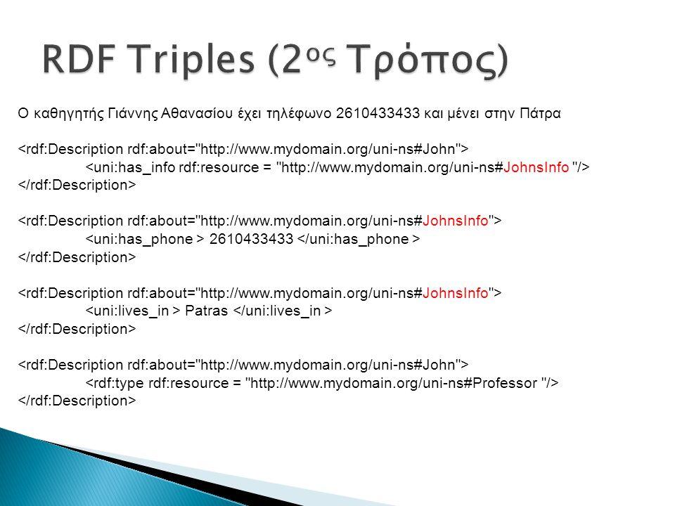  Simple Protocol and RDF Query Language ◦ Είναι σαν την SQL ◦ Κάνει ερωτήματα πάνω σε RDF δεδομένα ◦ Εξάγει συμπεράσματα βάσει των τριπλετών του RDF ΔήλωσηΕπεξήγηση PREFIX Καθορισμός ονόματος για ένα URI SELECT Επιστρέφει όλες ή κάποιες από τις μεταβλητές της WHERE CONSTRUCT Επιστρέφει νέο RDF γράφο με όλες ή κάποιες από τις αντιστοιχήσεις μεταβλητών DESCRIBE Επιστρέφει μια περιγραφή των πόρων που βρέθηκαν ASK Υποβάλλει ερώτηση αν το pattern ταιριάζει ή όχι WHERE Μια conjunctive λίστα με patterns σε τριάδες ή γράφο OPTIONAL Μια conjunctive λίστα με προαιρετικά patterns σε λίστα ή γράφο AND Λογική έκφραση που μπορεί να εφαρμοστεί στο αποτέλεσμα