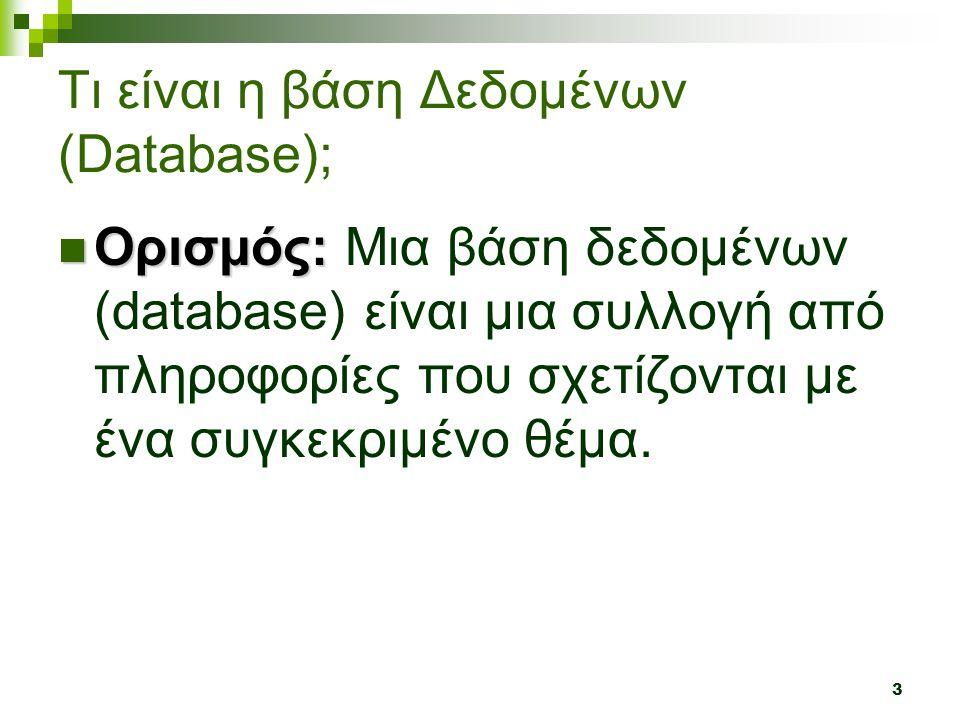 3 Τι είναι η βάση Δεδομένων (Database);  Ορισμός:  Ορισμός: Μια βάση δεδομένων (database) είναι μια συλλογή από πληροφορίες που σχετίζονται με ένα συγκεκριμένο θέμα.