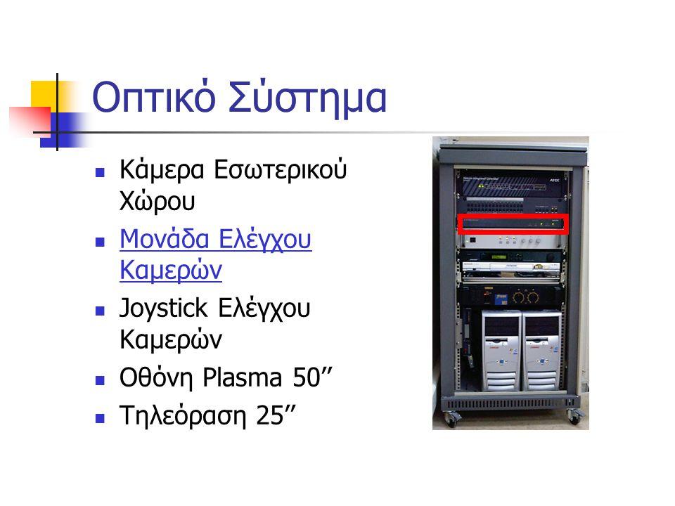 Οπτικό Σύστημα  Κάμερα Εσωτερικού Χώρου  Μονάδα Ελέγχου Καμερών  Joystick Ελέγχου Καμερών  Οθόνη Plasma 50''  Τηλεόραση 25''