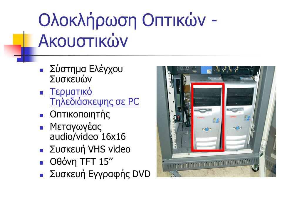 Ολοκλήρωση Οπτικών - Ακουστικών  Σύστημα Ελέγχου Συσκευών  Τερματικό Τηλεδιάσκεψης σε PC  Οπτικοποιητής  Μεταγωγέας audio/video 16x16  Συσκευή VH