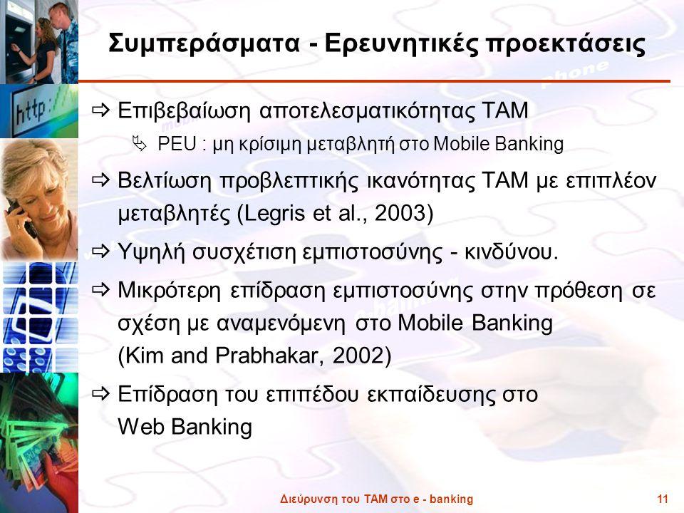 Διεύρυνση του ΤΑΜ στο e - banking11 Συμπεράσματα - Ερευνητικές προεκτάσεις  Επιβεβαίωση αποτελεσματικότητας ΤΑΜ  PEU : μη κρίσιμη μεταβλητή στο Mobi