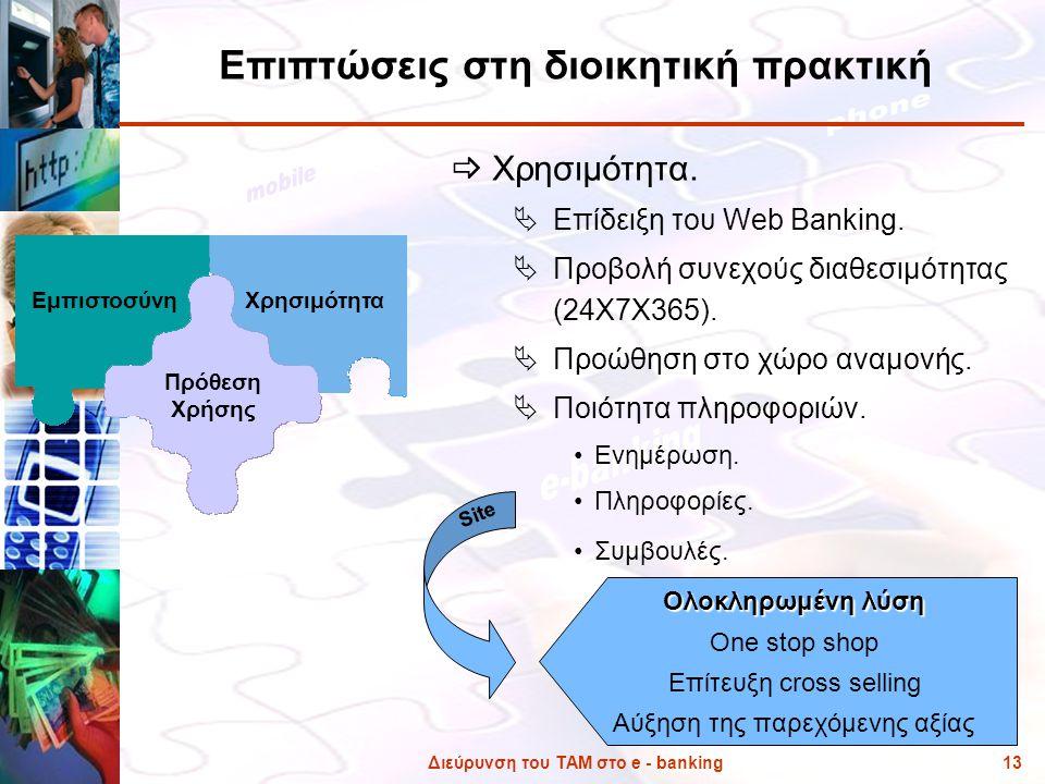 Διεύρυνση του ΤΑΜ στο e - banking13 Επιπτώσεις στη διοικητική πρακτική  Χρησιμότητα.  Επίδειξη του Web Banking.  Προβολή συνεχούς διαθεσιμότητας (2